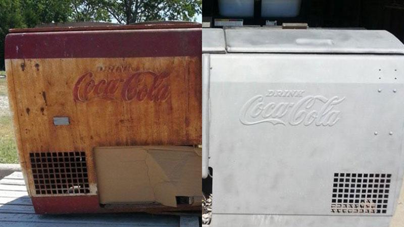 Coca-cola-cooler-restoration-dustless-blasting